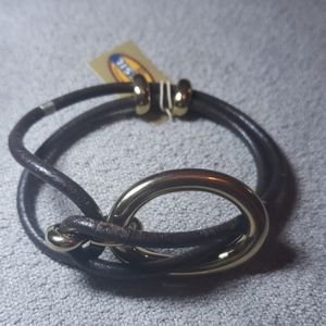 Fossil leather and gold bracelet